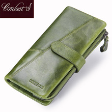Contacts New Genuine Leather Wallet Fashion Coin Purse For Ladies Women Long Clutch Wallets With Cell Phone Bags Card Holder