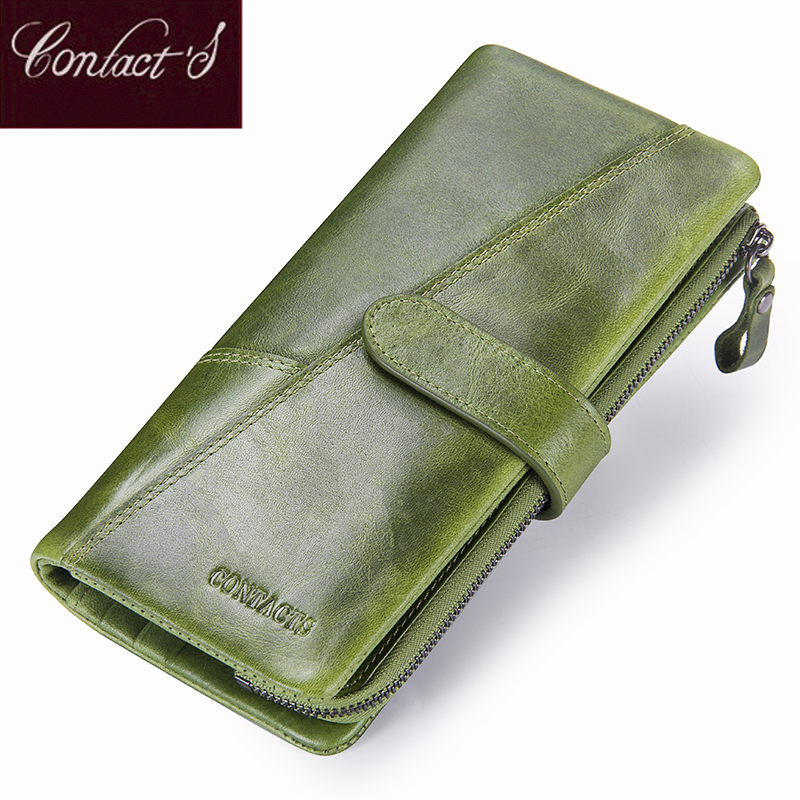 Contact's New Genuine Leather Wallet Fashion Coin Purse For Ladies Women Long Clutch Wallets With Cell Phone Bags Card Holder
