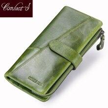 İletişim yeni hakiki deri cüzdan moda bozuk para cüzdanı bayanlar kadınlar için uzun debriyaj cüzdan ile cep telefonu çanta kart tutucu