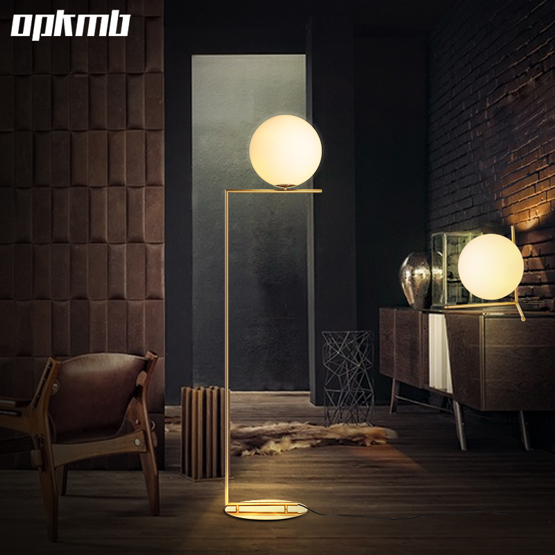 nordic glass ball floor lamp art gold body round ball stand lamp for home deco material