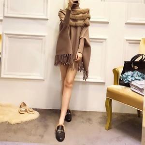 Image 3 - Women Real Rabbit Fur Cloak Pullover Coat New Arrival Fashion Spring Lady High Collar Bat Sleeves Tassel Poncho Sweater Coat
