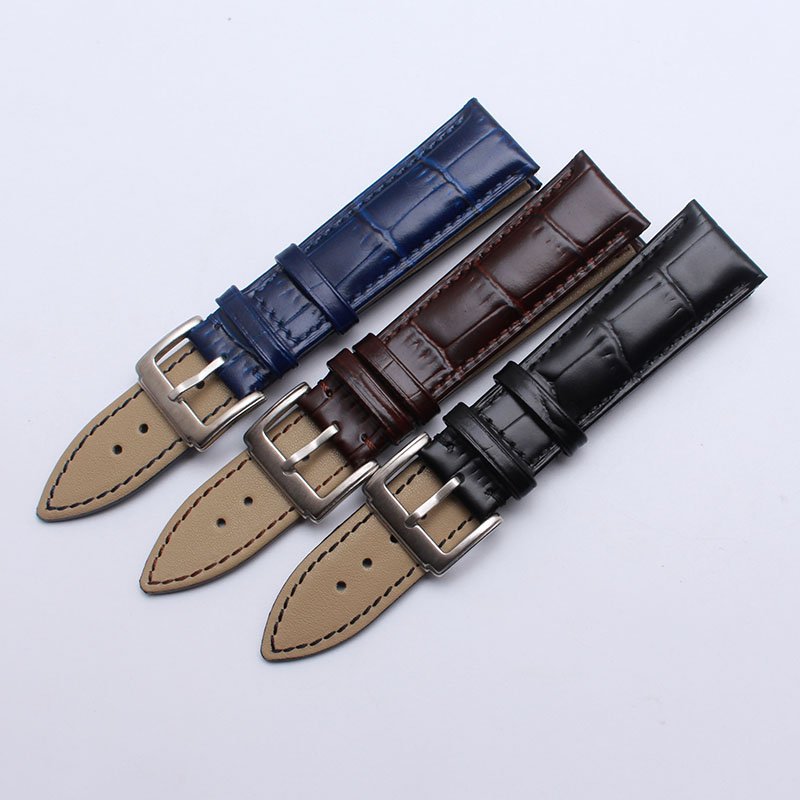 Black Blue Brown Cowhide Leather Watchbands 14mm 16mm 18mm 19mm 20mm 21mm 22mm Fashion Crocodile grain  strap bracelet new