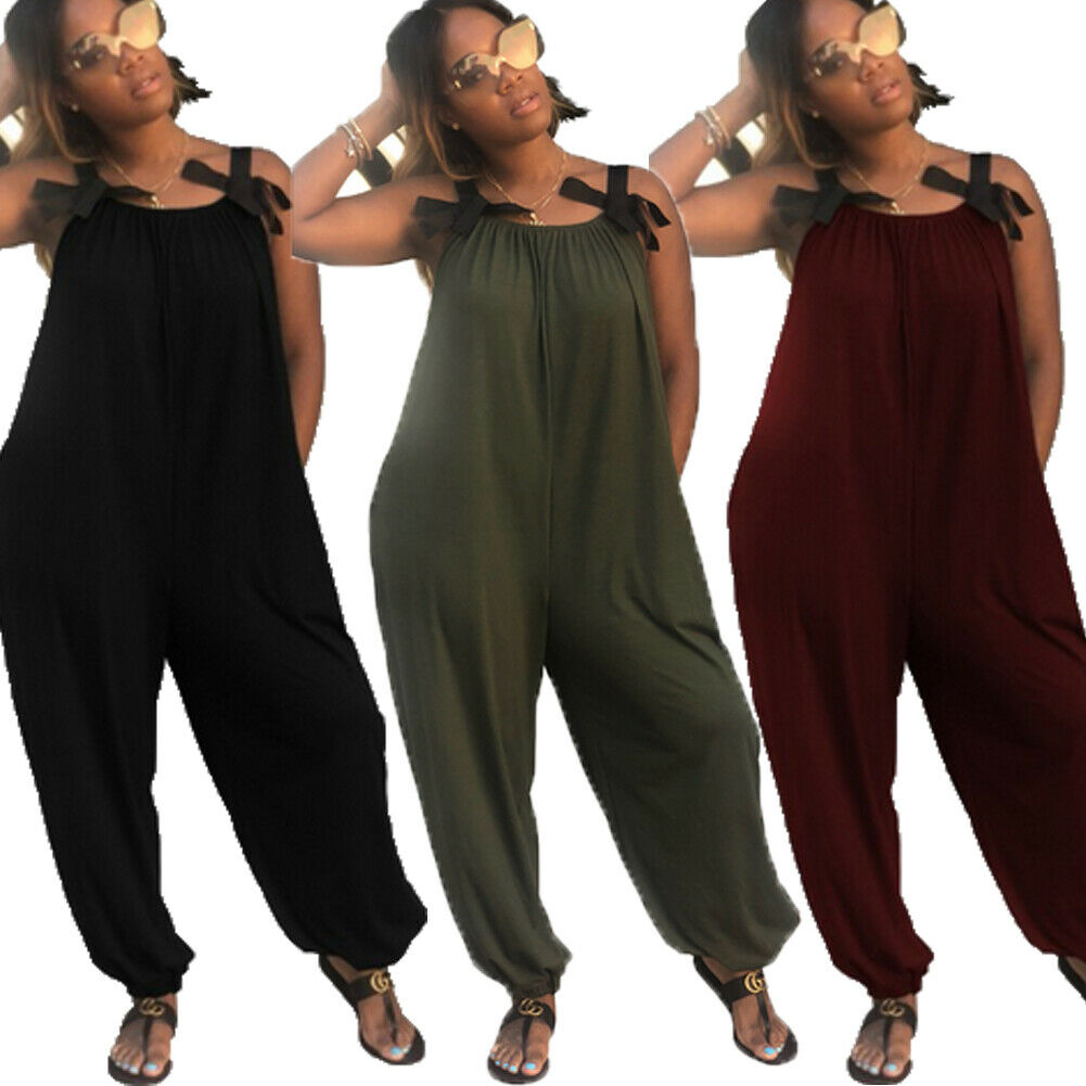 Women Ladies Jumpsuits Party Club Daily School Beach Wear  Loose Casual Solid Sleeveles Jumpsuits 2020 Summer New Plus Size