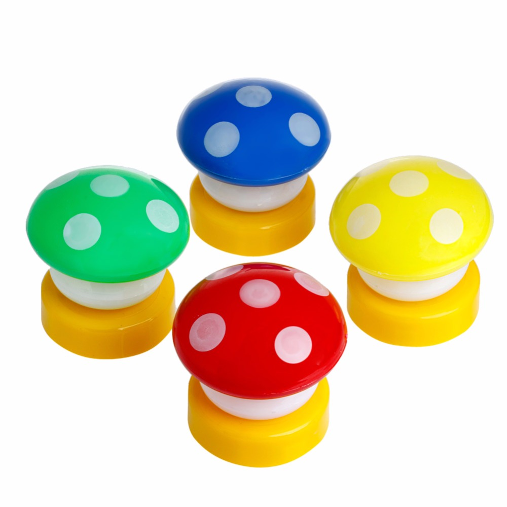 1PC Mini Fairytale Mushroom Press Down Touch LED Night Light Lamp Baby Kids Bedside Random Color