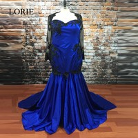 Gothic Royal Blue Mermaid Wedding Dresses Sweetheart Black Vintage Lace Sexy Women Long Sleeve Bridal Gown