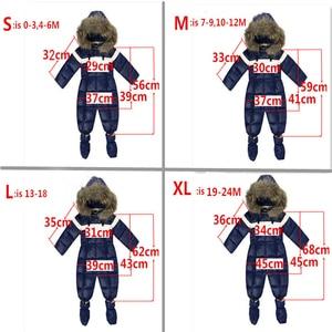 Image 4 - ملابس شتوية للأطفال الأولاد ملابس من الفرو الطبيعي ملابس ثلوج للأطفال الرضع قطعة واحدة مع قلنسوة ملابس هدية