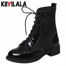 Kiiyilala Genuine Leather Women Sock Boots Round Toe Hoof Heels Platform With Lace-u Ankle For Cowhide Booties