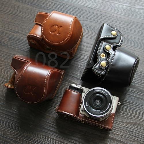High Quality Leather Camera Bag Case For Sony A5000 A5100 NEX 3N NEX-3N 16-50mm lens