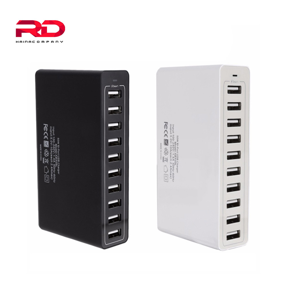 Fast charging 10 Port Multiple USB Charger Desktop Charger 5V 10A 50W Smart Quick Charge Mobile Charger For iPhone Samsungxiaomi