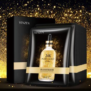 1pc Gold Hyaluronic Acid Facial Mask Moisturizing Hydrating Smoothing Depth Replenishment Face Skin Care