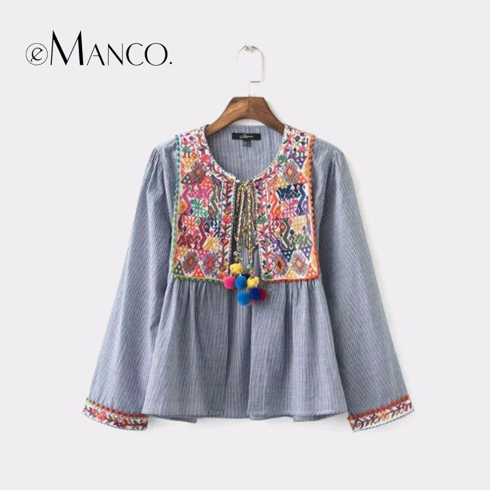 e-Manco vintage Boho embroidery women jacket loose retro pleated coat long sleeve colorful balls casual outwear tops