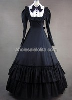 Vintage Victorian Gothic Dress With Long Sleeves Dress