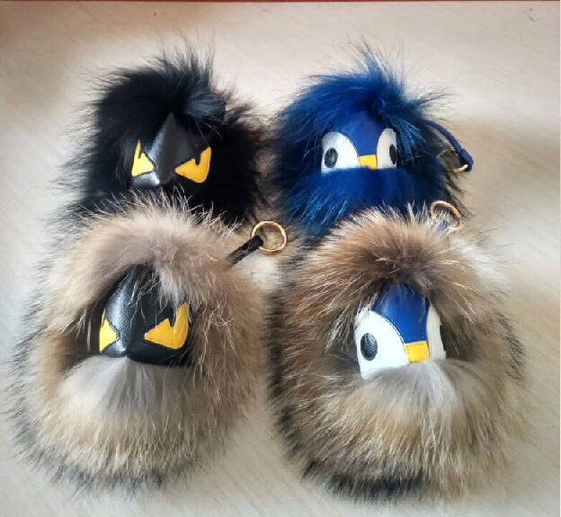 2015 New Paris fashion accessories real fur monster doll keychain owl Modelling 1:! 1 Custom Karlito real leather luggage tag