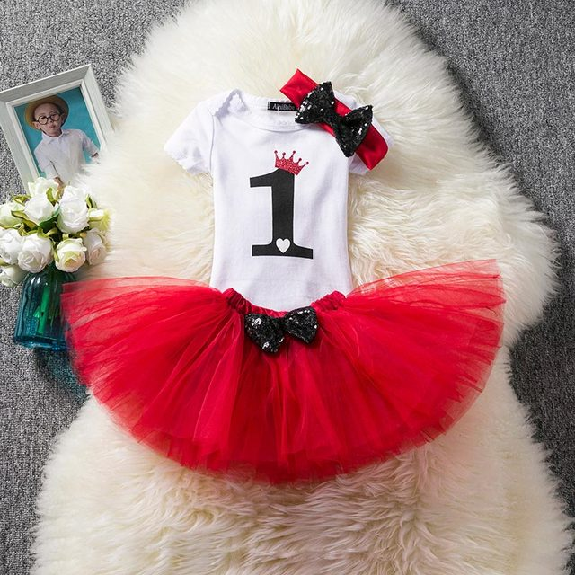 a4b354c0a26a Infant Clothing Sets One Year Baby Romper+Fancy Tutu Dress +Headband Suits  Baby Gift