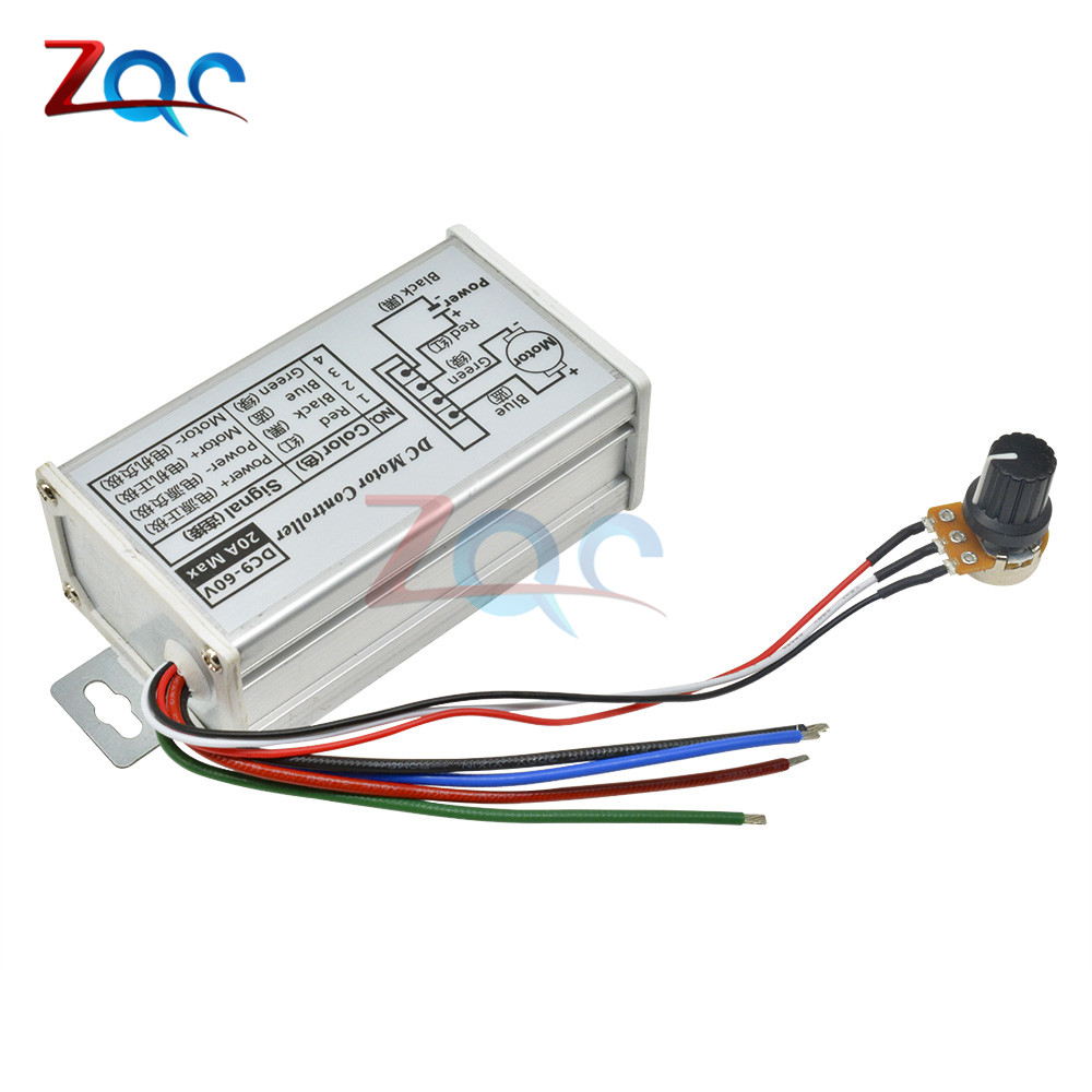 Reversible DC 9-60V 12V 24V 36V 48V 60V 20A PWM DC Motor Driver Speed Controller Motor switch Reversible Switching Module Width Modulator