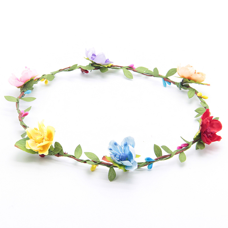 rainbow colors bridal floral wreath headwear standard size garland women girl hair ornament