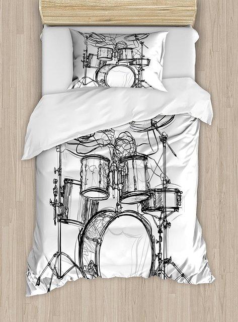 Rock Music Duvet Cover Set Doodle Drawing Sketch Style Drummer