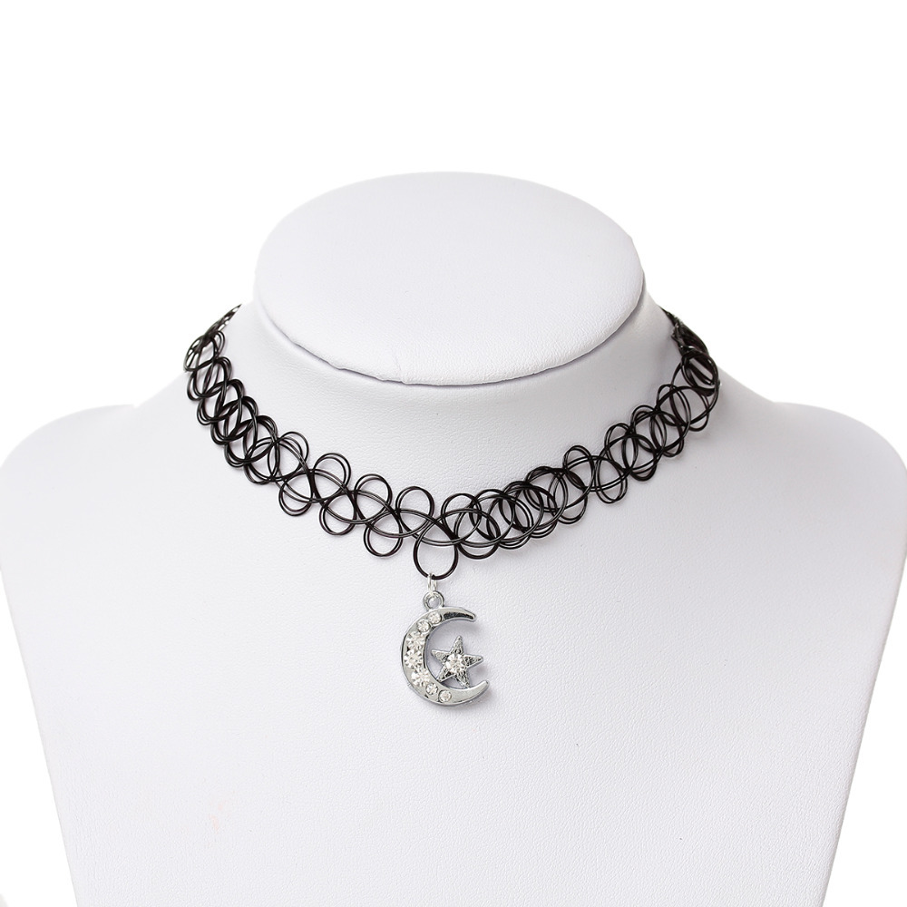 8SEASONS APP Sale Black Tattoo Choker Necklace Vintage Elastic Pendants layered Fashion Jewelry 30.0cm(11 6/8) long, 1 PCs