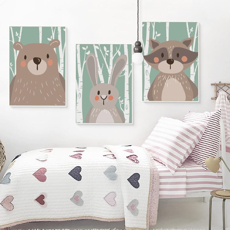 Elegantní poezie Roztomilé kreslené zvířata Fox Rabbit Bear A4 Canvas Malování Umělecká reprodukce Plakát Obrázek Dětský pokoj Nástěnné dekorace