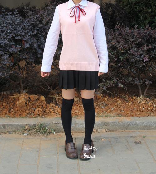 Cosplay K-ON Qollu sviter Vest geyimlər V-boyunlu Yapon Liseyi forma - Qadın geyimi - Fotoqrafiya 6