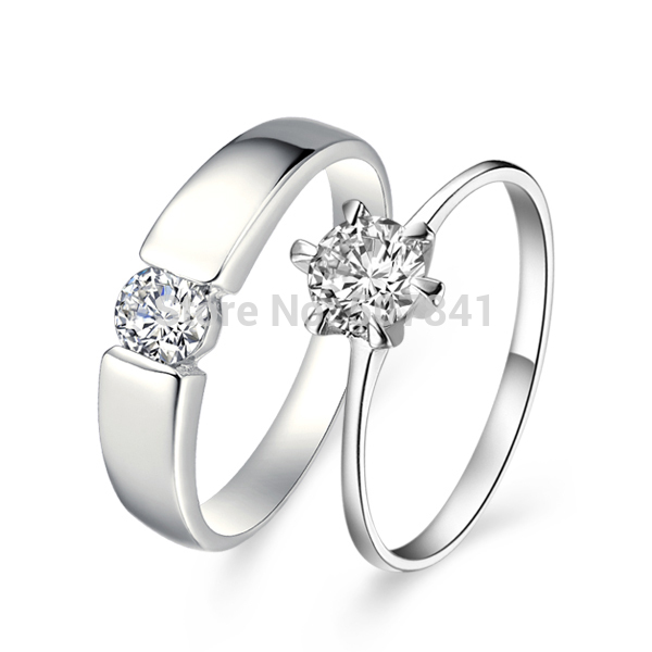 1Pair price 2pcs / Beautiful fashion Wedding Party silver plated Zircon crystal Couple Ring jewelry women men noble ring