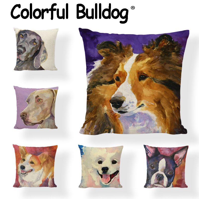 Cushion Covers Corgi Pug Labrador French Bulldog Spanish Greyhound Shepherd Dog Car Living Room Sofa Home Decoration Pillowcases