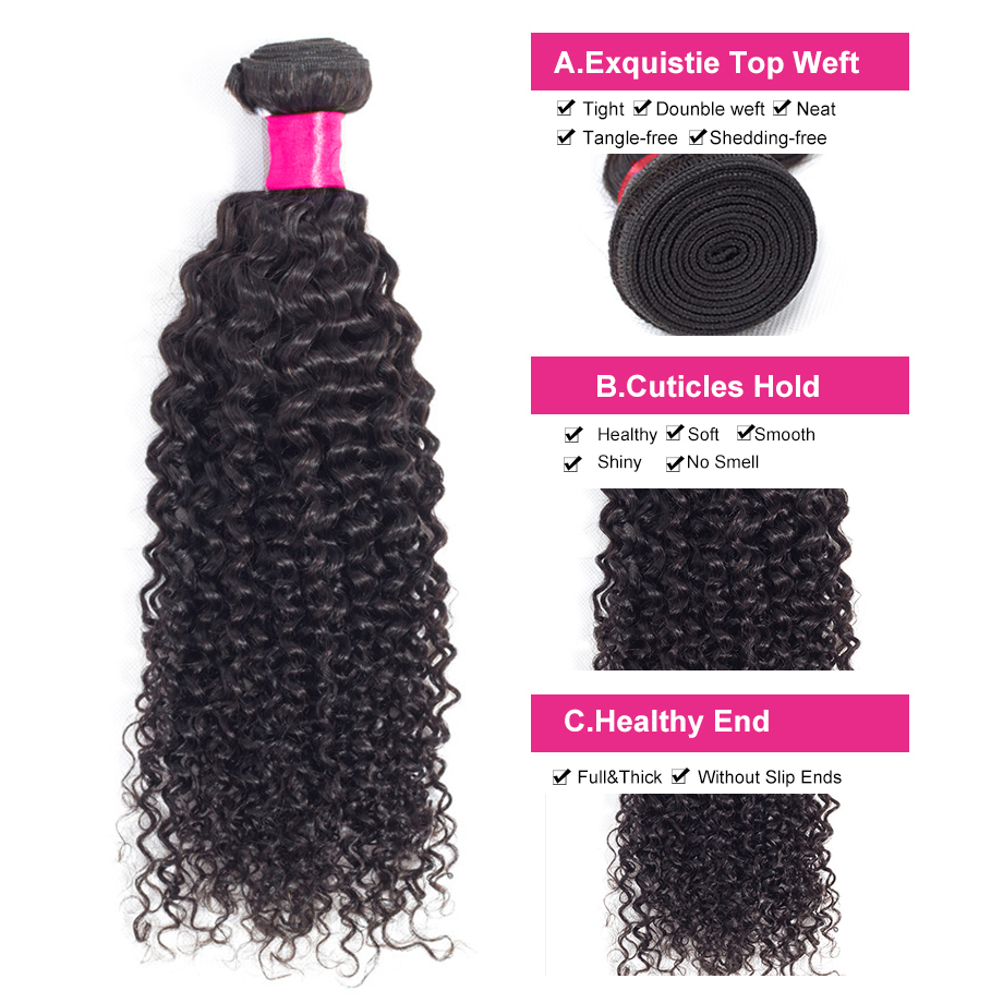 Image 2 - Kinky Curly Hair Brazilian Hair Weave Bundles 100% Remy Human Hair Extensions Natural Color 5Pcs/10Pcs  Free Shipping BY Hair-in Hair Weaves from Hair Extensions & Wigs