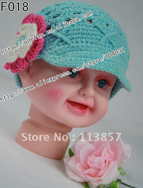 Free shipping (100/lot) 100% cotton crochet hat patterns for girls ...