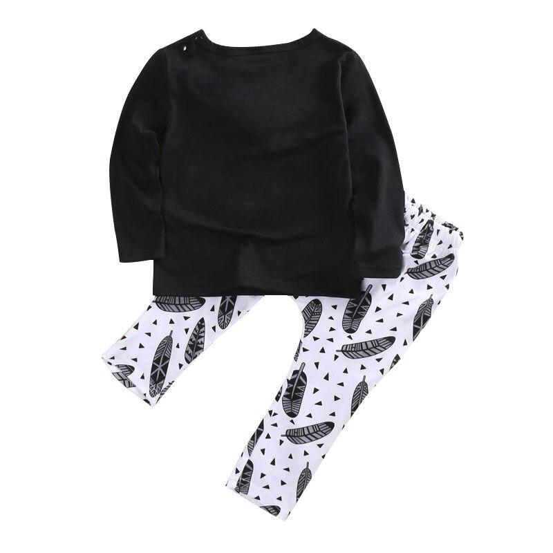 HOT SALE Casual Newborn Baby Boys Cotton T-shirt Pants 2pcs Outfits Set Clothes Main , Black and white , 0-6 Months