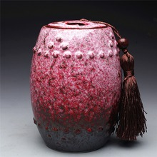 Красный Градиент Caddy барабан в форме большой CeramicTea коробка подарочная коробка еды герметичные банки Сахарница резервуар Для Хранения Бутылки