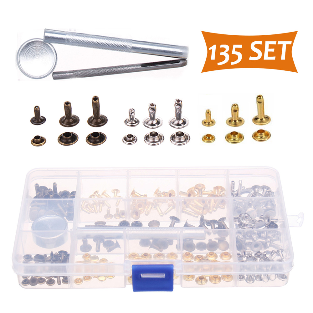 138 Set Metal Leather Single Cap Rivet Tubular Metal Studs W/ Fixing Tool For Leather Craft Repairing Decor 3 Colors 3 Sizes