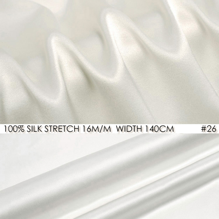 SILK STRETCH SATIN 140cm width 16momme Pure Silk Fabric+Spandex Stretch  Fabric Wedding Dress Natural White NO 26 c9f2dfec8b26