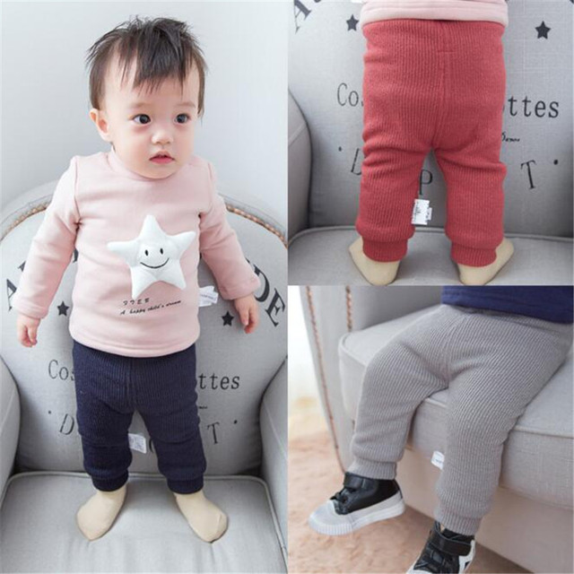 Fast High Quality Baby Clothing 2016Korean Fashion Cute Fleece Knitted Stretch Pants Trousers Baby Girls Clothes Autumn&Spring