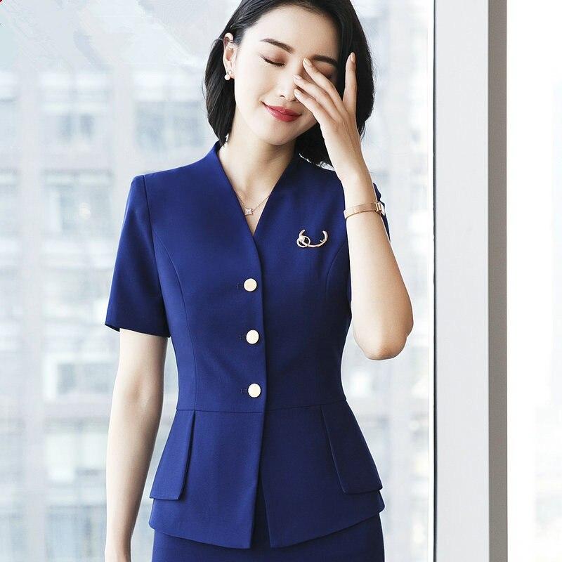 Summer Blazer Women Clothing Short Sleeve Slim Office Formal Blazer High Quality Elegant V Neck Ladies Jacket Bleizer Mujer