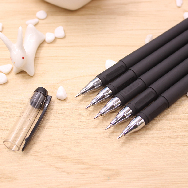 цена на new 20pcs Cute Kawaii Black Gel Pen Cartoon Plastic Gel Pens For Writing Office School Supplies Korean Stationery Free shipping