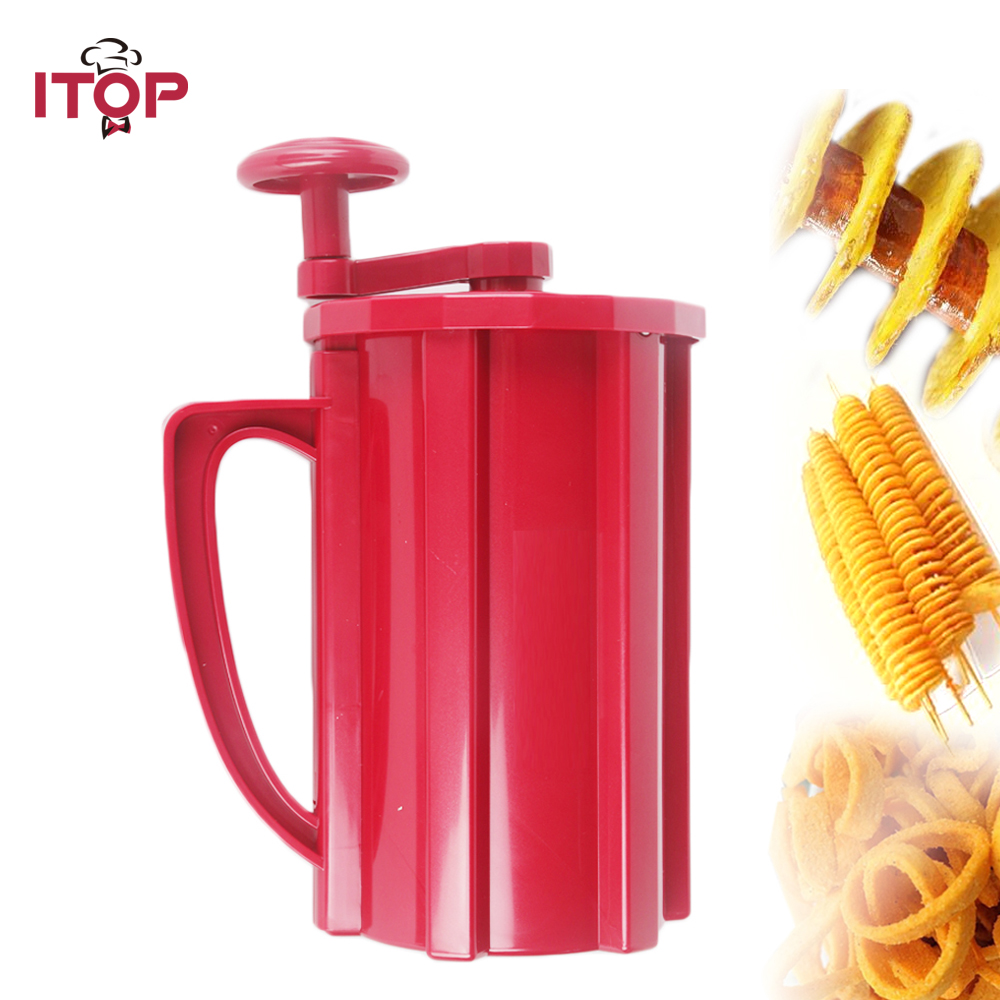 купить ITOP Manual Potato Spiral Cutters Slicers Potato Twisted Tower Cutters French Fries Hot Dog Vegetable Fruit Kitchen Tools по цене 1971.3 рублей