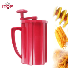 ITOP Manual Potato Spiral Cutters Slicers Potato Twisted Tower Cutters French Fries Hot Dog Vegetable Fruit Kitchen Tools