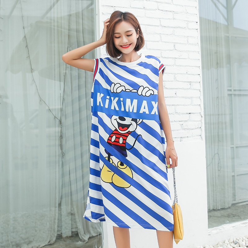 Women Loose Comfortable Cartoon Long Tank Tops Back Hollow Lace Simple Fashion Sleeveless Tops