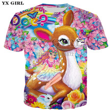 2018 Summer Women Basic T-shirt Casual O-neck Tee Shirt	3d Print Lovely Princess And Deer Graphic Tees Female T shirt plus size недорого