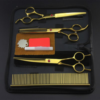 4 Kit Japan 440c Pet 7 Inch Shears Dog Grooming Hair Scissors Set Cutting Thinning Scissor