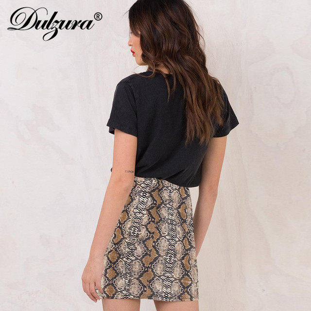 Falda sexy con estampado de serpiente de Dulzura 2019 primavera otoño ropa de mujer moda elástica de cintura alta mini faldas lápiz