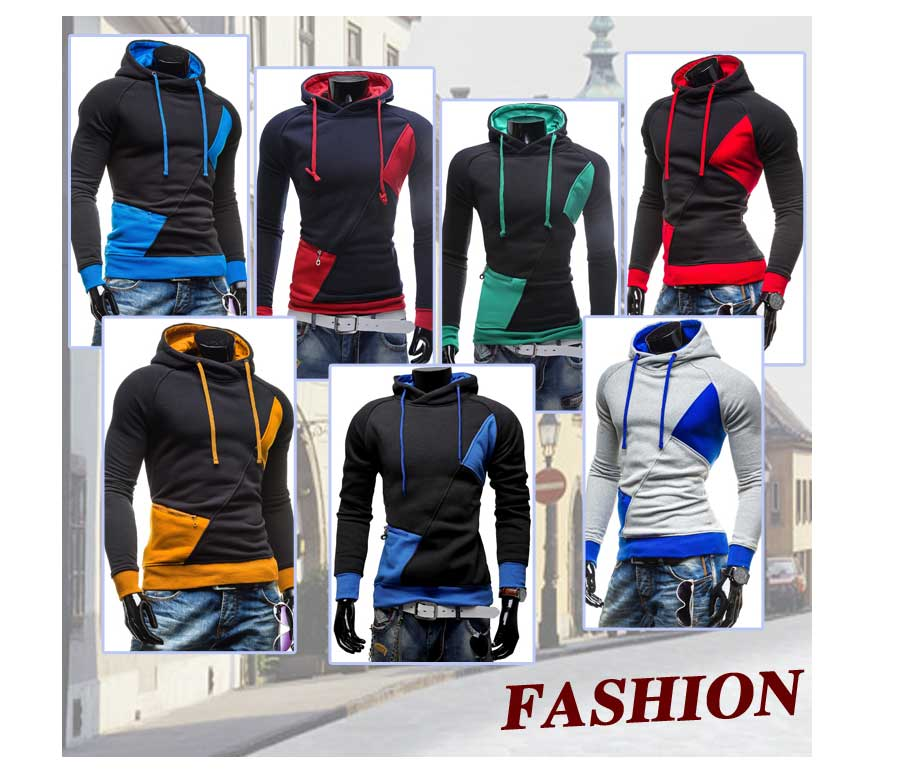 spring and autumn new hoodie men's matching color patchwork jumper Korean version of men's coat 10