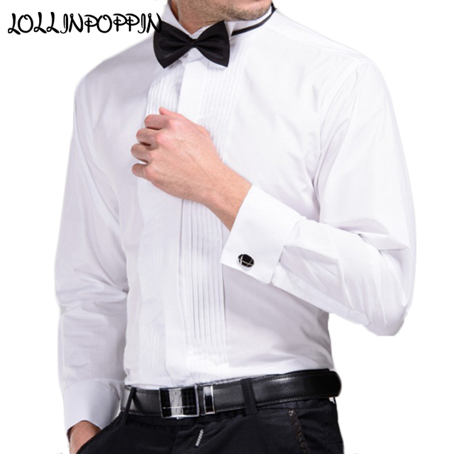 Mens White Wedding Shirt With Bowtie 2017 New Dress Shirts French