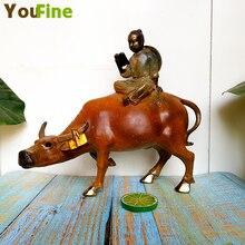 Bronze Classic Boy Riding Cow Boy Cow Shepherd Riding Cow Doll Crafts Decoration nutrilon cow