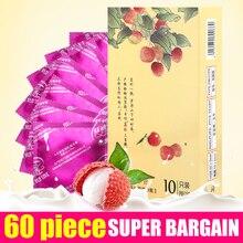 60Pcs/Lot Products Natural Latex Condoms For Men Super Thin Fruit Flavor Large Oil Quantity Sex Products Adult Sex Toys Condom
