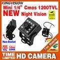2016New Mini Câmera de Visão Noturna 1/3 CMOS 1200TVL leds IR HD CCTV Segurança Vigilância Suporte De Metal Cor Interior Vídeo analógico