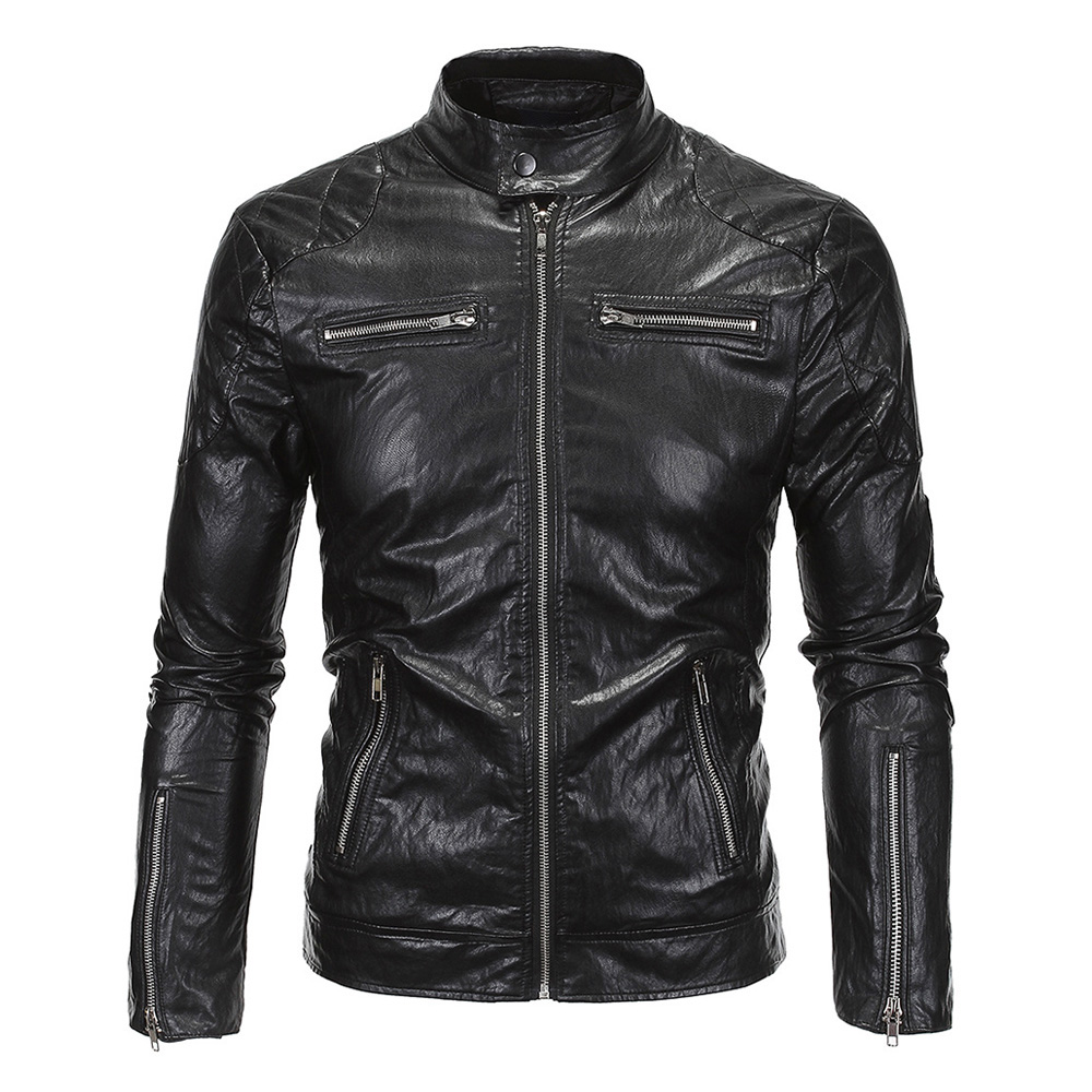 New Retro Motorcycle Jacket Mens PU Leather Slim Fit Thin Classic Biker Punk Motorbike Windproof Moto Jacket Coat Size M-5XL destroyed slim fit biker jeans