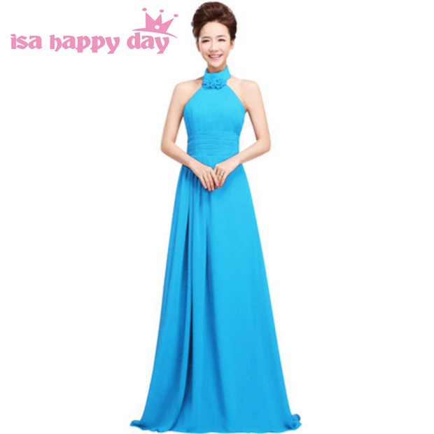 women long halter neck 2019 elegant light blue adult   bridesmaid     dress   pretty   dresses   gown for teenagers lace up back H1178