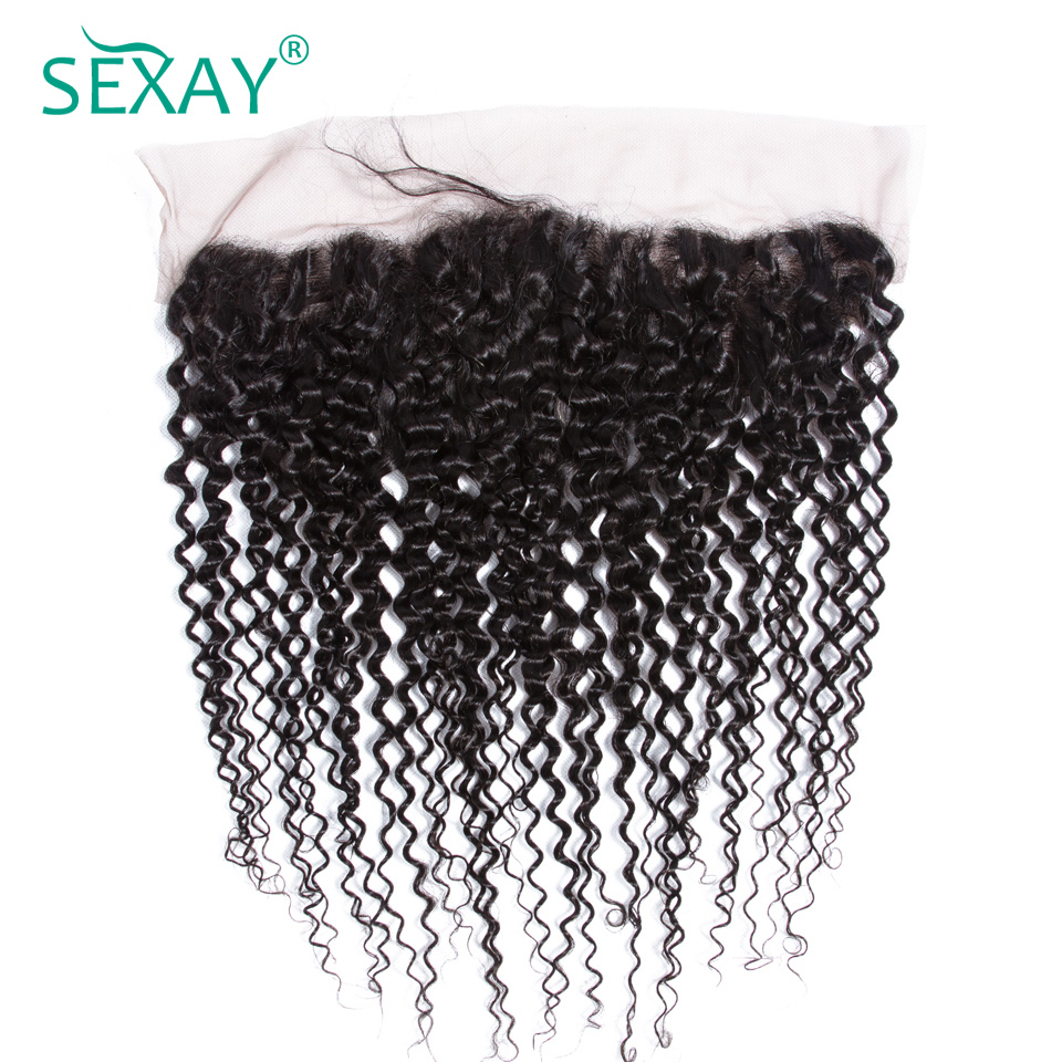 Sexay 13x4 lace frontal closure kinky curly pre plucked natural hairline with baby hair ear to