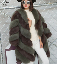 Luxurious Real Natural Genuine Fox Fur Coat For Women Winter Warm Full Pelt Long Jacket Overcoat With Pockets 161013-1